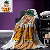 Cat picnic blanket Cool Cat with Hat and Beer Mugs Bavarian German Drink Festival Tradition Funny Humorous soft throw blanket Multicolor size:50''x60''