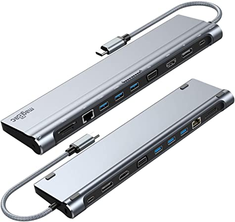 Grau Power Delivery ICY BOX USB-C Dock mit 2 HDMI und VGA Audio Kartenleser Aluminium 60806 3X USB 3.0 Gigabit LAN