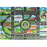 Per Children Play Car City Map Non-Woven Fabrics With Route Parking Lot Street And Building Pattern For Kids Playing Toy Vehicles 33 x 23 In