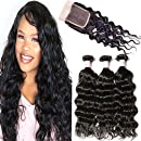 Beauty Forever Hair Brazilian Natural Wave Virgin Hair Weave 3 Bundles with 1 Piece Lace Closure 100% Unprocessed Human Hair Extensions Natural Color 95-100g/pc (12 14 16+10 free part)