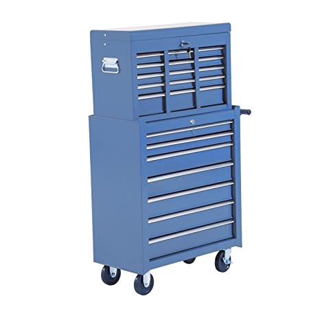 HOMCOM Carro Caja de Herramientas Taller Movil 16 Cajones 4 Ruedas 2 Cerraduras Azul