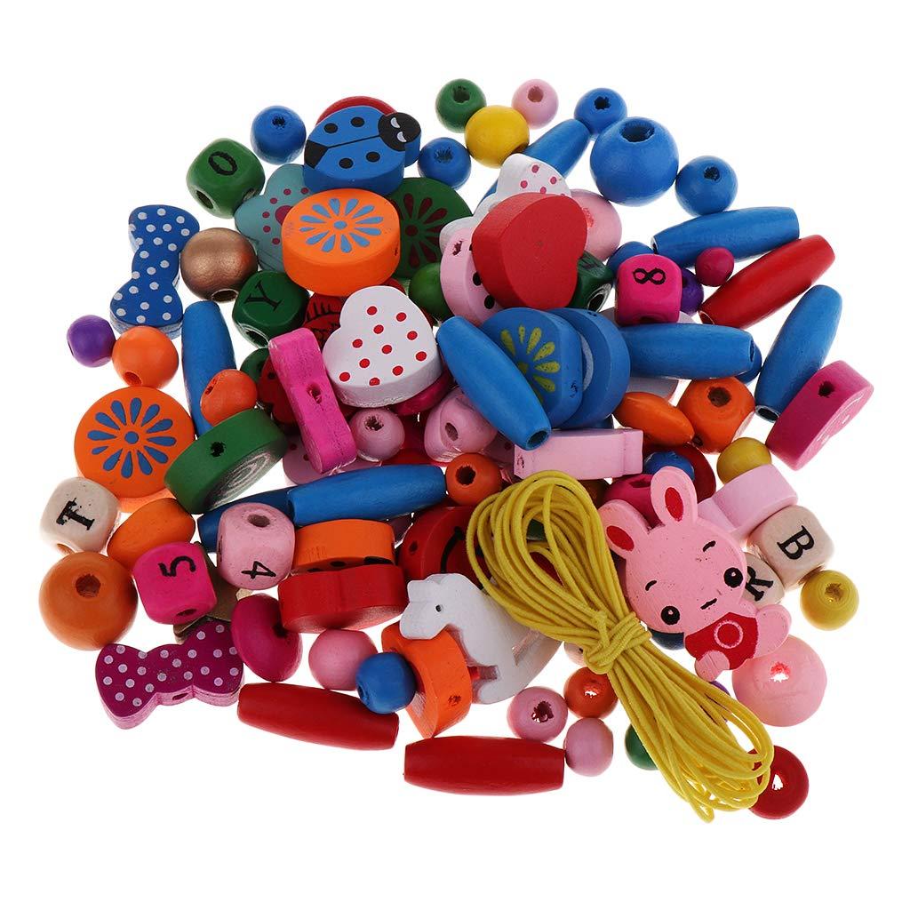IPOTCH Set de 40pcs Cuentas Colores de Madera Pintados Abalorios de Varios Formas Apto para Proyecto Bricolaje Regalos Ideales para Ni/ños Amigos