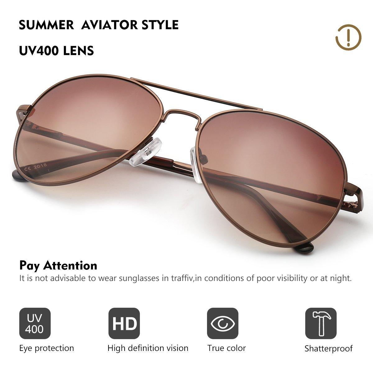 Occffy Pilotenbrille Sonnenbrille für Herren und Damen UV400 Schutz Metall Rahmen (Silberrahmen mit Silber Spiegellinse) 6bgDclHqd