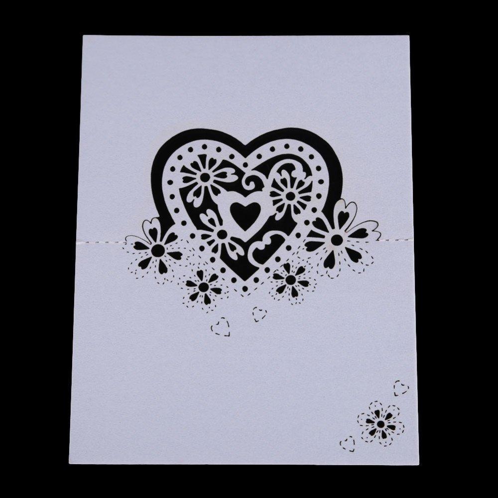 Worldoor® Hot Sale 50pcs Wedding Party Table Name Place Cards Favor Decor Love Heart Laser Cut Design (White)