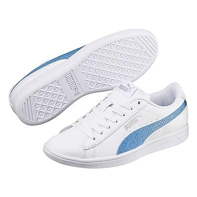 b1f9c902b84b Puma Girls Vikky Glitz Low Trainers White Blue UK 3 (35.5)  Amazon ...