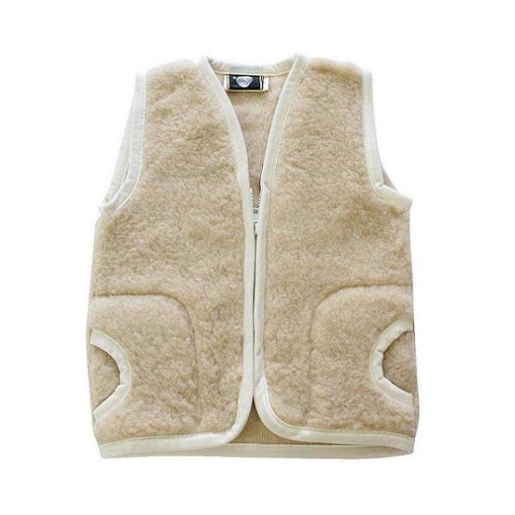 Kinderweste Baby Weste 100/% Merino Wolle Schafswolle beige Gr 1-3 Jahre
