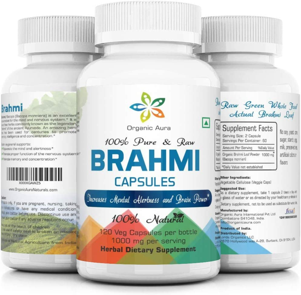 Organic Aura Brahmi Capsules - 120 Count. Made with Certified Ingredients. Naturally Strengthens and Boosts Immunity and Memory Power