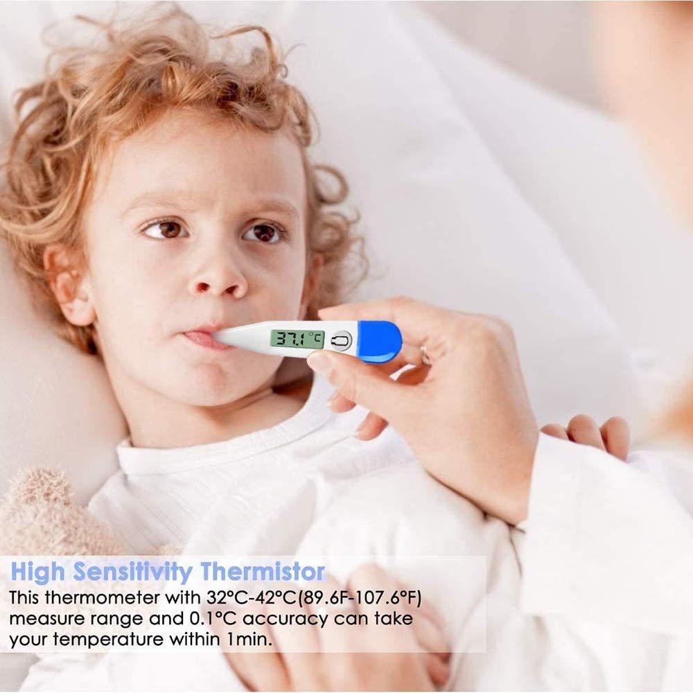 elektronisches LCD-Display Orales Thermometer Soft Head Medizinisches Thermometer wasserdicht mit Speicherfunktion Digitales Fieberthermometer