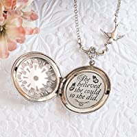 She believed she could so she did. Graduation Gift Quote Necklace and Silver Locket