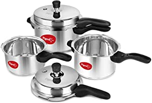 Pigeon by Stovekraft Stainless Steel Pressure Cooker Combo 2, 3, 5 Litre Outer Lid with common lid for 2L & 3 L, separate lid for 5L, outer lid with induction base (12739)