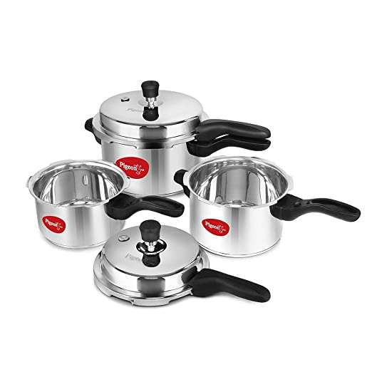 Pigeon Stainless Steel Pressure Cooker Combo 2, 3, 5 Litre Outer Lid with Induction base