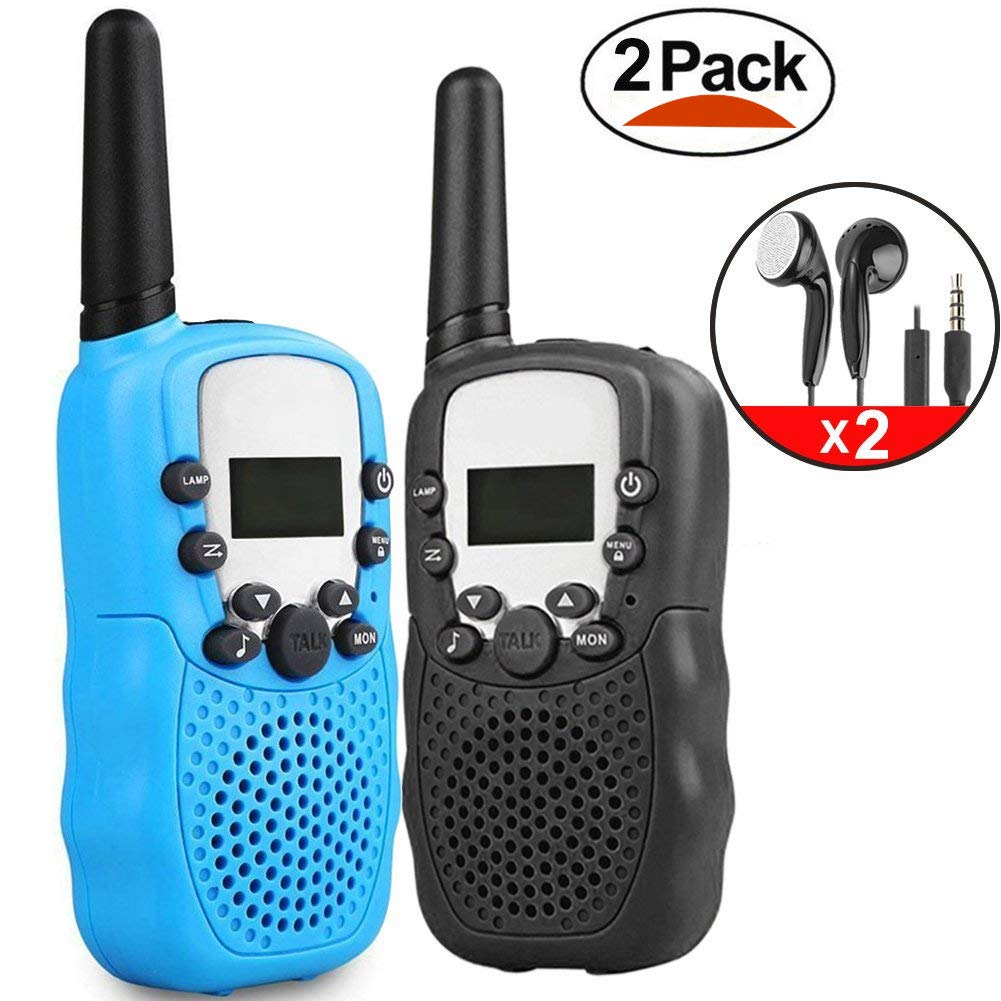 iGeeKid 2pack Kids Walkie Talkie Long Range Two Way Radio with Earpiece Speaker Mic LED Flashlight for Girls/Boys/Cruise/Camping/Travel Gifts(Black and Blue)