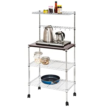 Kitchen Bakers Rack, Adjustable 4 Tiers Carbon Steel Multifunctional  Moveable Microwaves Rack with Composite Board and Hooks