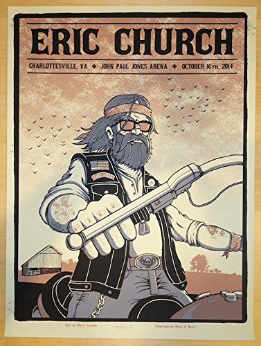 2014 Eric Church - Charlottesville Concert Poster by Matt Leunig