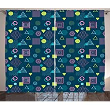 Ambesonne Geometric Curtains by, Abstract Figures Squares Triangles and Dots Waves Striped Postmodern Illustration, Living Room Bedroom Window Drapes 2 Panel Set, 108 W X 63 L Inches, Multicolor