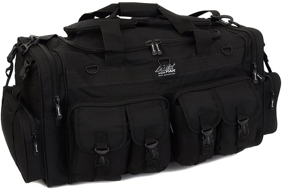 Image of the Nexpak 30 Inch Duffel Range Bag, with four front compartments in buckle-type closure, black color.