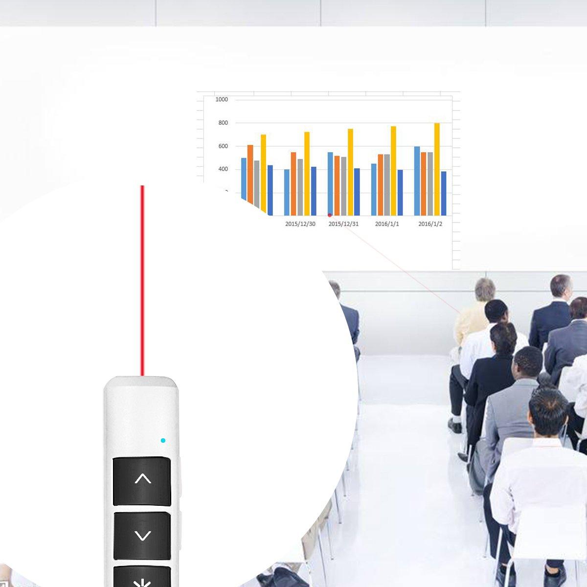 Wireless Pr/äsenter Wiederaufladbarer Powerpoint Fernbedienung mit Laserpointer Pr/äsentationsfernbedienung Pr/äsentation Pointer f/ür PPT//Prezi//OpenOffice//Windows//Mac OS//Android//Linux(Schwarz)