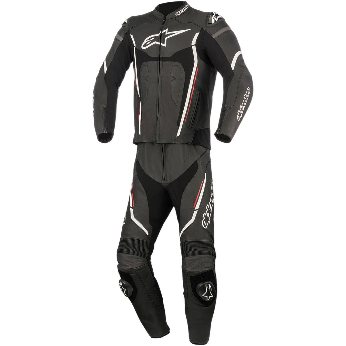 Alpinestars Montegi V2 Men's 2-Piece Street Motorcycle Race Suits - Black/White/Red / 48