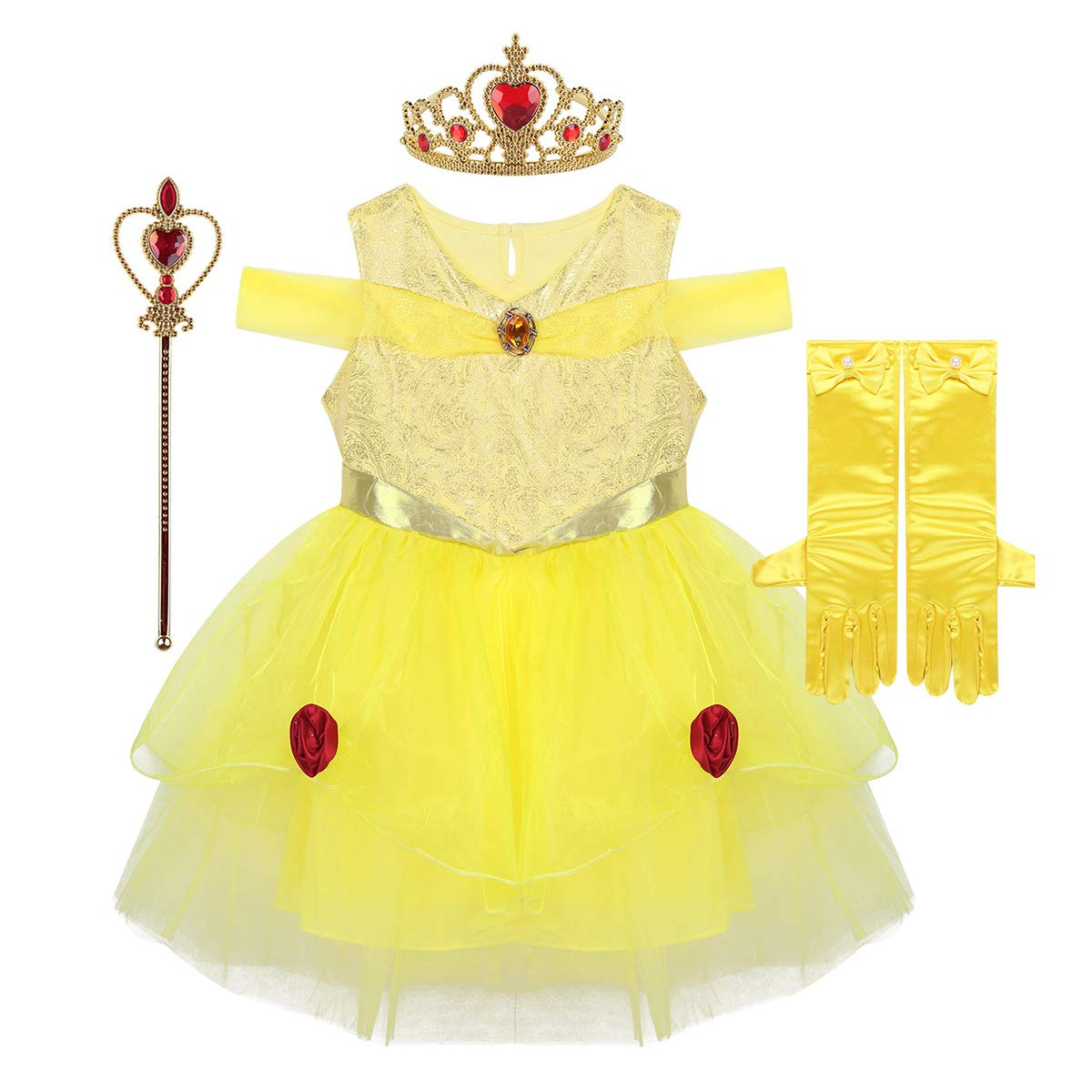 inhzoy Disfraz de Bella Princesa para Niña Cosplay 4Pcs ...