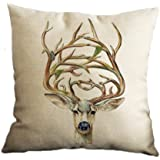 Nunubee Soft Pillowcase Cotton Linen Home Decor Throw Sofa Bed Pillowcase Pillow Case Elk