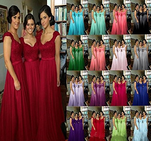 Long Bridesmaid Sleeve Dresses Gowns Lace Fanciest Cap Women' Burgundy Wedding Party HwxPqnA