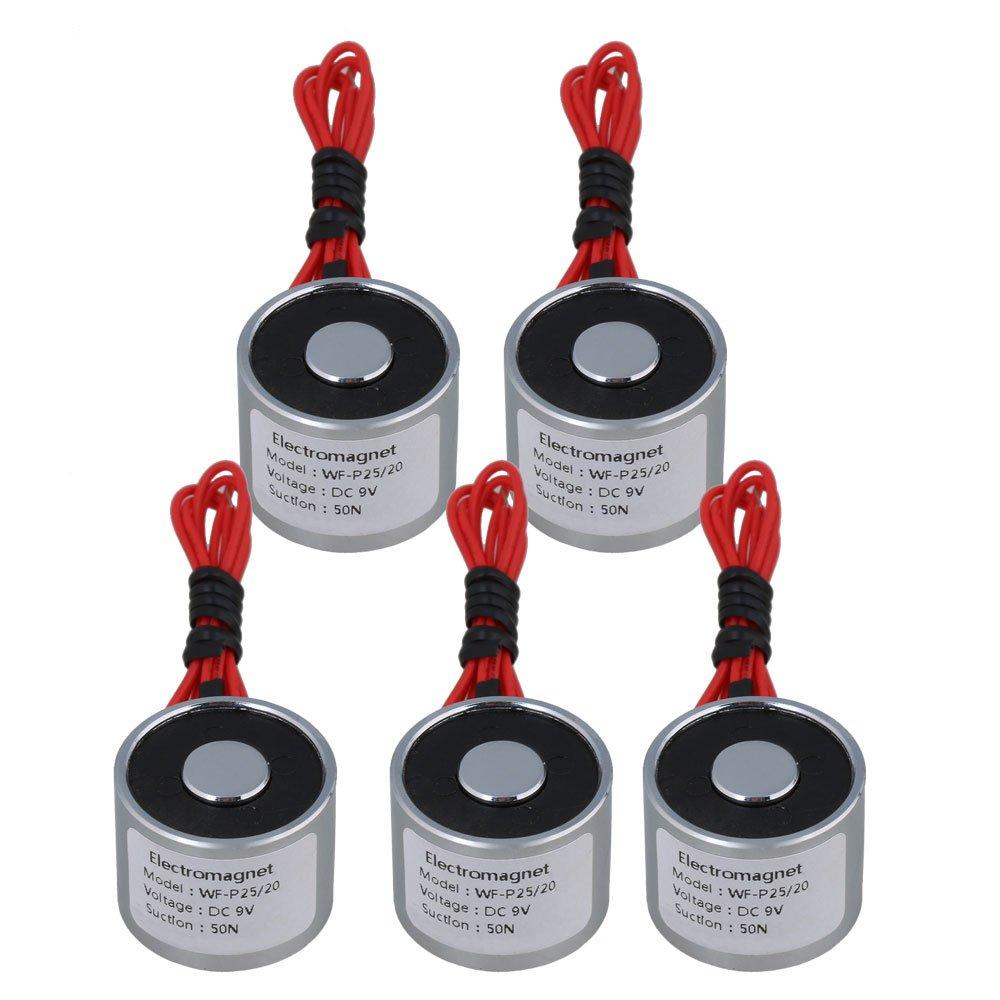 Yibuy 5pcs 5V DC 5kg 50N 0.8A Electric Lifting Holding Magnet Electromagnet 4W etfshop