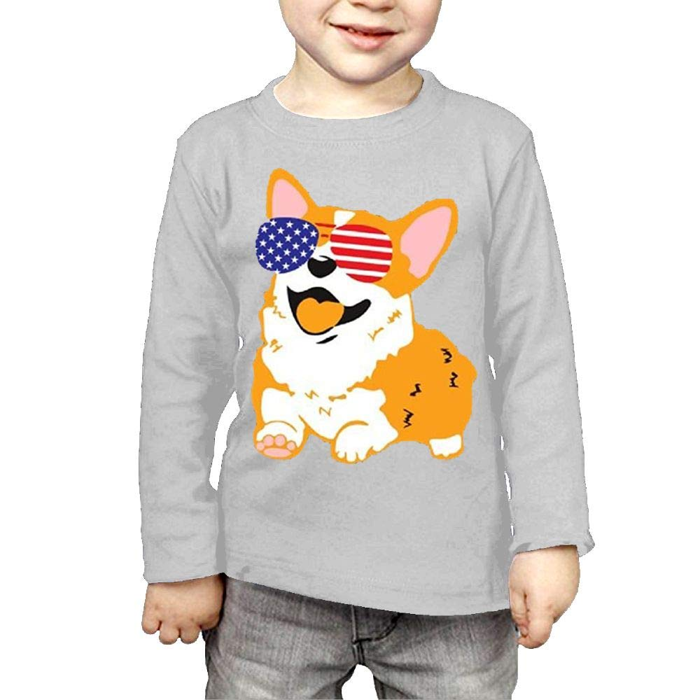Strividialous Youth Boys&Girls Corgi with USA Glasses Humor Shirts 3 Toddler Long Sleeve by Strividialous