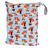 Wet Dry Bag Baby Cloth Diaper Nappy Bag Reusable with Two Zippered Pockets (Fox)
