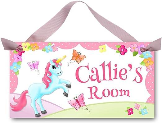 Unique Pink Unicorn Mini Metal Door Hanging Wall Sign Plaque Home Present Gift