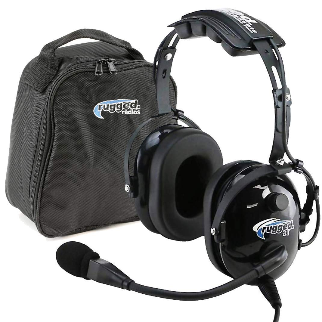 Rugged Air RA200 General Aviation Pilot Headset Features Noise Reduction, GA Dual Plugs, MP3 Music Input and Includes Headset Bag by Rugged. Air