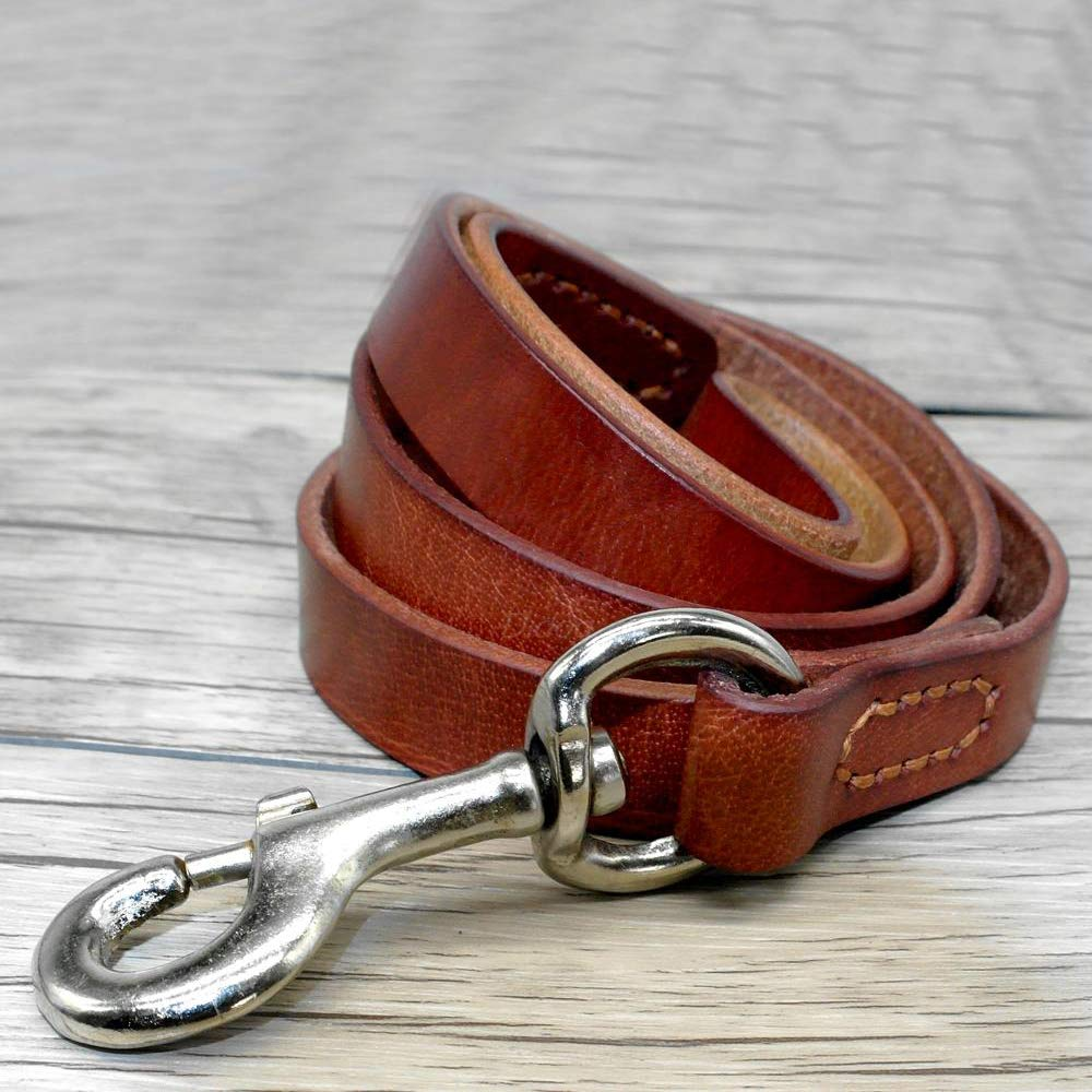 CYXYX Genuine Leather Dog Leash Pet Training Lead Prevent Bite Black and Brown for German Shepherd Rottweiler Lab,Brown