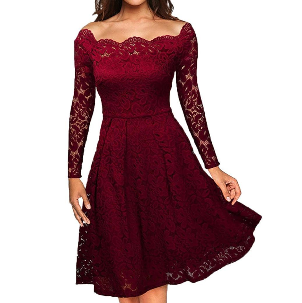 Yang-Yi Clearance, Hot Fashion Women Vintage Off Shoulder Lace Formal Evening Party Dress Long Sleeve Solid Dress (Wine, M)