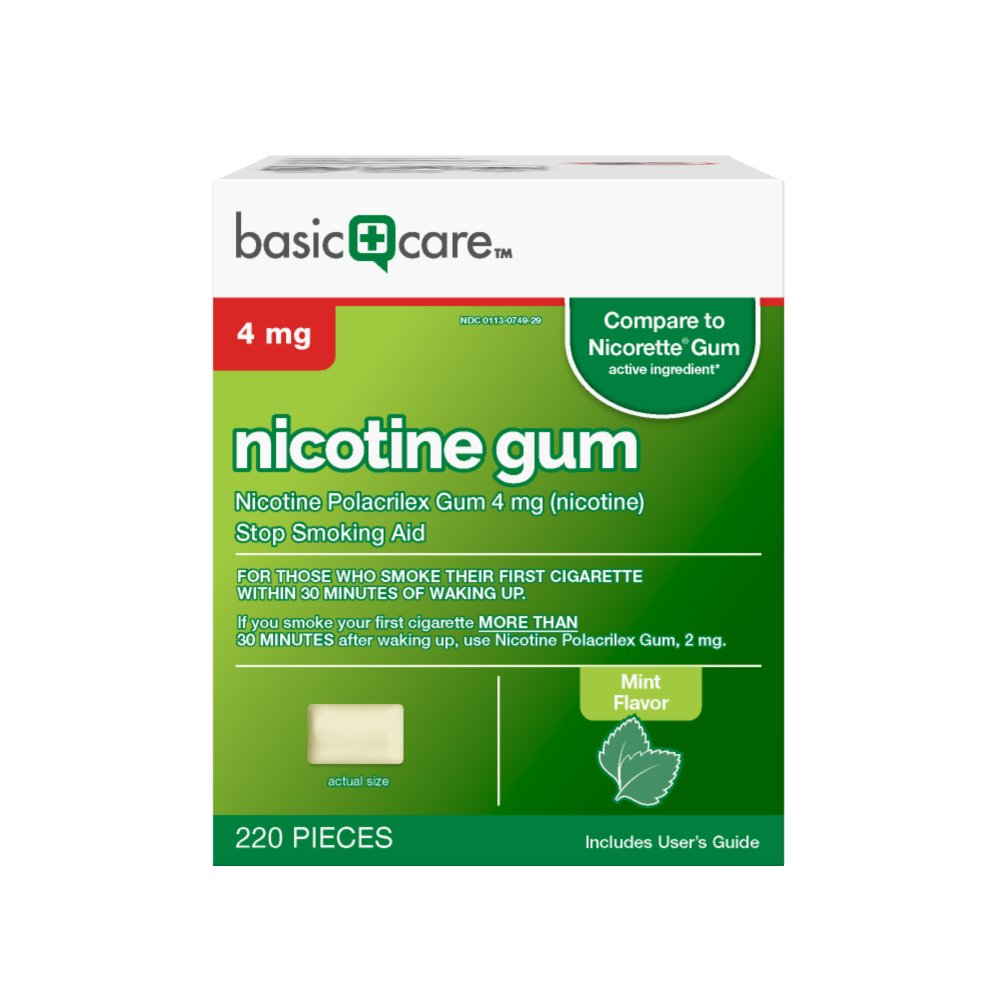 Basic Care Nicotine Gum, 4mg, Mint Flavor, 220 Count by Basic Care