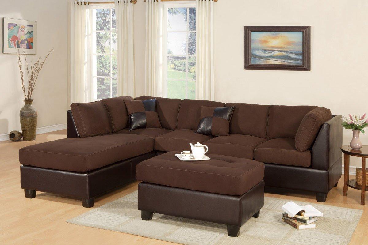 Amazon.com: Bobkona 3 Seat Sofa Sectional W/ Ottoman (Chocolate): Kitchen U0026  Dining