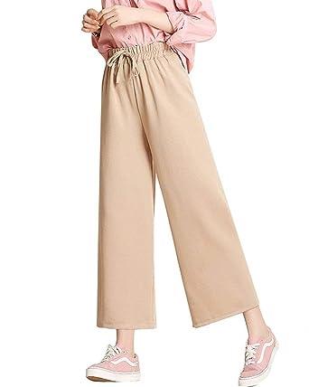 b09a622a05816 Wide Leg Pants Femme Printemps Automne Pantalon 7/8 Elégante Mode ...