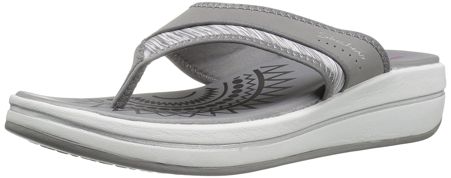 Skechers Women's Upgrades Slide Winder Flip Flop,Grey,10 M US