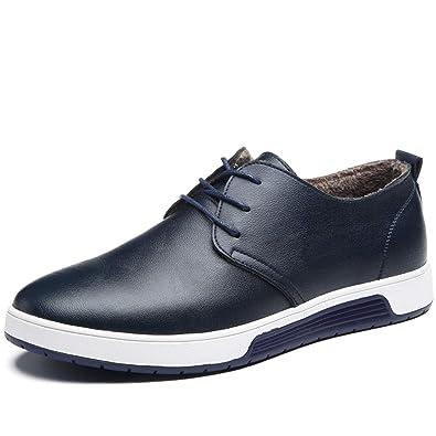 Herren Leder Schuhe Mit Warm Gefuttert Business Halbschuhe Zum