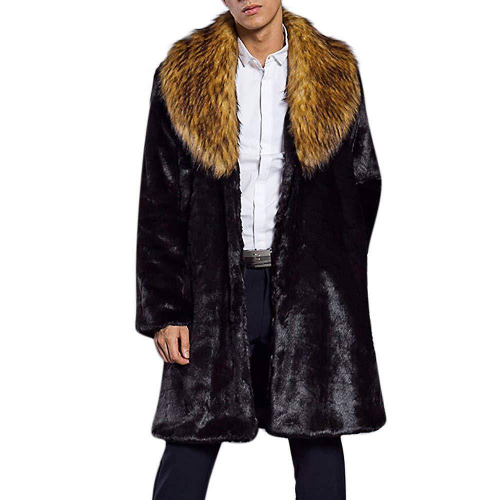 Allywit Men's Luxury Faux Fur Coat Jacket Winter Warm Long Coats Overwear Outwear