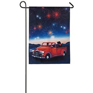 Evergreen Flag Festive Fireworks Solar LED Applique Garden Flag