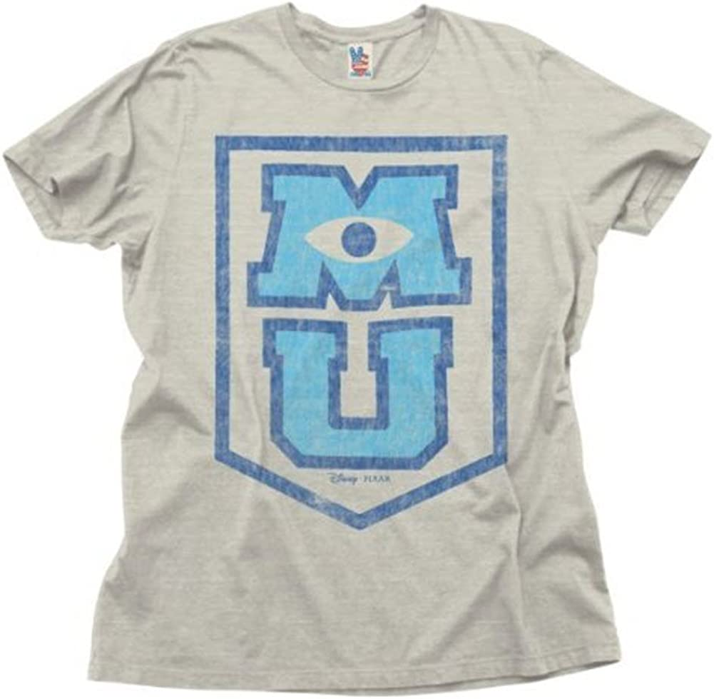 Junk Food MU Monsters University Logo Light Grey T-Shirt