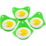 Generic Silicone Egg Poacher Cooking Perfect Poached Eggs Green Extra Thick Egg Poacher Molds Set of 4