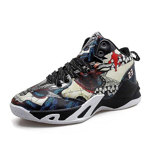 Hombres Baloncesto Zapatos Graffiti Cuero cómodo Antideslizante ...