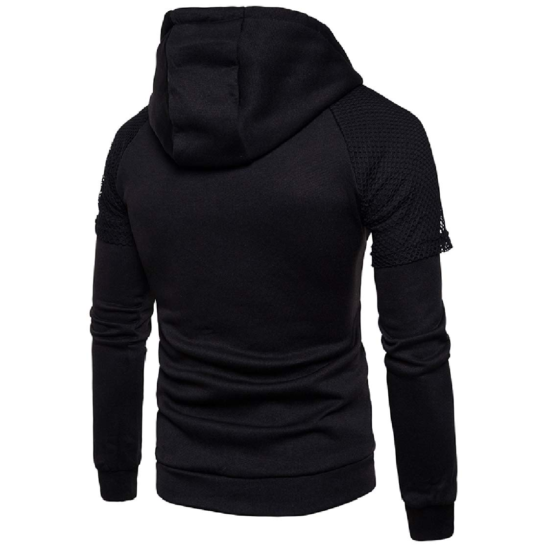 YUNY Mens Letter Printed Hood Pullover Plus Size Sweatshirts Top Black M