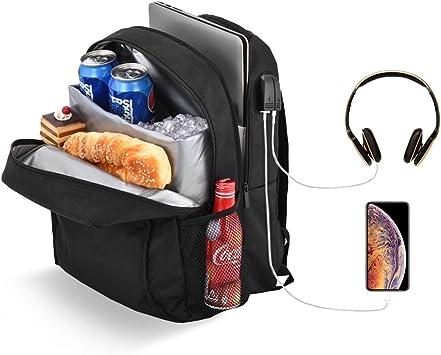 Posloc Mochila para portátil con refrigerador, a prueba de fugas, 24 L para almuerzo, bolsa de ordenador escolar para mujeres y hombres para portátil ...