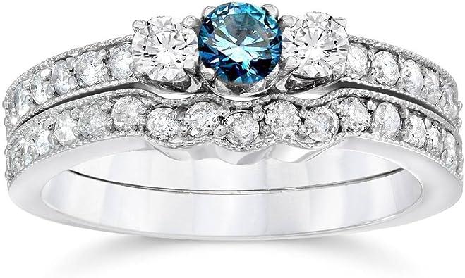 Christmas 2CT DIAMOND ENGAGEMENT RING Three-Stone 14K WHITE GOLD ENHANCED Sz 5.5