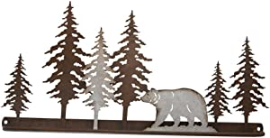 Pine Ridge Wall Art Metal Bar Towel Holder 3-D Bear Scene Home Decor - Western Decorative Wall Mount Holder for Kitchen, Toilet and Bathroom