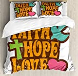 Hope Queen Size Duvet Cover Set by Ambesonne, Grunge Faith Hope Love Quote with Religious Symbols Cartoon Style Vintage Letters, Decorative 3 Piece Bedding Set with 2 Pillow Shams, Multicolor