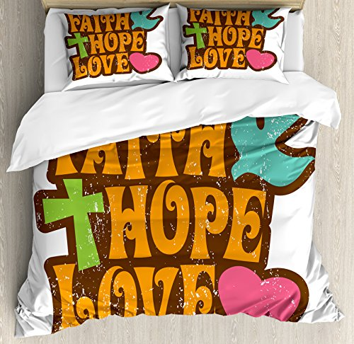 Hope Queen Size Duvet Cover Set by Ambesonne, Grunge Faith Hope Love Quote with Religious Symbols Cartoon Style Vintage Letters, Decorative 3 Piece Bedding Set with 2 Pillow Shams, Multicolor by Ambesonne