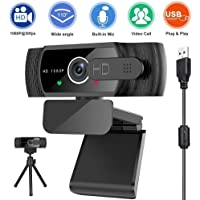 Upgraded 1080P 30fps Webcam with Microphone, Sherry Wide Angle Web Camera with Privacy Cover &Tripod,Plug and Play USB…