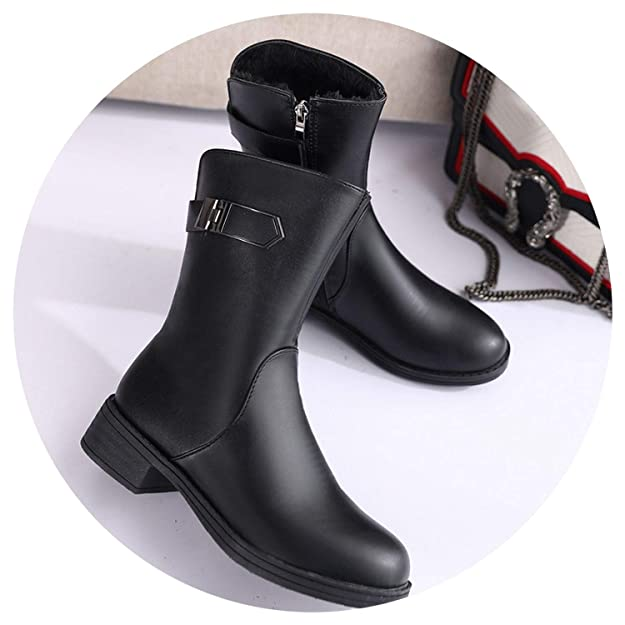 Amazon.com | New-Loft Soft Leather Shoes Proof Boots Warm Ankle Boots Woman Riding Boots Square Heels Botines | Ankle & Bootie
